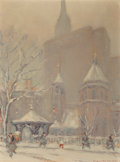 Fine Art - Painting, American:Modern  (1900 1949)  , Johann Berthelsen (American, 1883-1972). Little Church Aroundthe Corner. Oil on canvasboard. 12 x 9 inches (30.5 x 22.9...