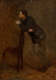 Eastman Johnson (American, 1824-1906) Portrait Sketch of Sanford Gifford Oil on board 18 x 12-5/8 inches (45.7 x 32.1...