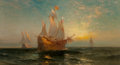 Fine Art - Painting, American, Edward Moran (American, 1829-1901). Galleon at Sunset. Oilon canvas laid on board. 20 x 36 inches (50.8 x 91.4 cm). Sig...