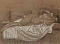 Fine Art - Work on Paper:Drawing, Théophile Alexandre Steinlen (Swiss, 1859-1923). Le repos dumodèle. Charcoal with white chalk highlights on paper. 17-3...