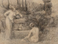 Fine Art - Work on Paper:Drawing, Hippolyte Petitjean (French, 1854-1929). Baigneuses à lafontaine. Charcoal and crayon on paper laid on card. 9-1/4 x12...