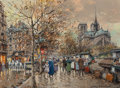 Paintings, Antoine Blanchard (French, 1910-1988). Paris, Les bouquinistes. Oil on canvas. 13 x 18 inches (33.0 x 45.7 cm). Signed l... (Total: 2 Items)