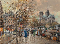 Antoine Blanchard (French, 1910-1988) Paris, Les bouquinistes Oil on canvas 13 x 18 inches (33.0
