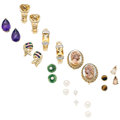 Estate Jewelry:Earrings, Multi-Stone, Diamond, Cultured Pearl, Gold, Yellow Metal Earrings.... (Total: 11 Items)