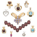 Estate Jewelry:Pendants and Lockets, Diamond, Multi-Stone, Gold Pendants . ... (Total: 11 Items)