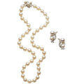 Estate Jewelry:Lots, Cultured Pearl, Diamond, White Gold Jewelry . ... (Total: 2 Items)