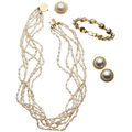 Estate Jewelry:Lots, Cultured Pearl, Diamond, Gold Jewelry . ... (Total: 4 Items)