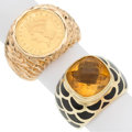 Estate Jewelry:Rings, Citrine, Enamel, Gold Coin, Gold Rings. ... (Total: 2 Items)