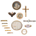 Estate Jewelry:Brooches - Pins, Multi-Stone, Shell, Enamel, Gold, Yellow Metal, Sterling Brooches.... (Total: 14 Items)