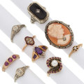 Estate Jewelry:Rings, Multi-Stone, Diamond, Cultured Pearl, Half-Pearl, Gold, White MetalRings. ... (Total: 9 Items)