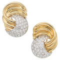 Estate Jewelry:Earrings, Diamond, Gold Earrings, M. Rotkel. ...