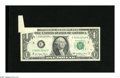 Error Notes:Foldovers, Fr. 1909-C $1 1977 Federal Reserve Note. Very Fine. The upperleft-hand corner reveals a foldover of over one inch in length...