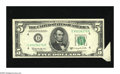 Error Notes:Attached Tabs, Fr. 1965-D $5 1950D Federal Reserve Note. Gem Crisp Uncirculated.An attractive butterfly with a swarm of paper guide line m...