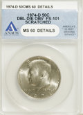 Kennedy Half Dollars, 1974-D 50C Double Die Obverse--Scratched--ANACS. MS60 Details.FS-101. (#96723)...