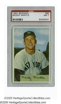 1954 Bowman Mickey Mantle #65 PSA NM 7. Strong example of this tough card is a must-have for any serious collector of th...