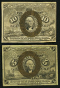 Fractional Currency:Second Issue, Fr. 1232 5¢ Second Issue Extremely Fine;. Fr. 1245 10¢ Second Issue Extremely Fine.. ... (Total: 2 notes)