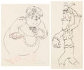 Animation Art:Production Drawing, Mother Goose Goes Hollywood Oliver Hardy and Stan LaurelAnimation Drawing Group of 2 (Walt Disney, 1938).. ... (Total: 2Items)