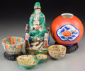 Asian:Other, Five Chinese and Japanese Ceramic and Porcelain Objects. 11-3/4inches high (29.8 cm) (tallest, Kannon group). ... (Total: 5 Items)
