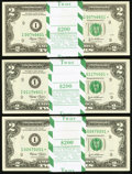 Fr. 1937-I* $2 2003 Federal Reserve Notes. Three Original Packs of 100. Choice Crisp Uncirculated or Better