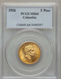 Colombia, Colombia: Republic gold 5 Pesos 1926 MS64 PCGS,...