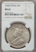 Cyprus:British Colony, Cyprus: British Colony. George V 45 Piastres 1928 MS62 NGC,...