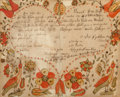 General Americana, A Pennsylvania Dutch Folk Art Fraktur, circa 1843. 18-1/2 incheshigh x 21-1/4 inches wide (47.0 x 54.0 cm) (framed). ...
