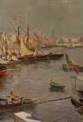 Fine Art - Painting, European:Antique  (Pre 1900), Stefano Farneti (Italian, 1855-1926). Le Port Naples. Oil oncanvas. 14 x 9-1/2 inches (35.6 x 24.1 cm). Signed and titl...