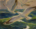 Fine Art - Painting, American:Modern  (1900 1949)  , Henry White Taylor (American, 1899-1943). Clearwater Florida Seagulls. Oil on Masonite. 30 x 36 inches (76.2 x 91.4 cm)...