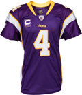 Football Collectibles:Uniforms, 2010 Brett Favre Game Worn, Signed Minnesota Vikings Jersey - Used 1/3 vs. Giants (Photo Matched). ...