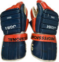 Hockey Collectibles:Equipment, 1980-81 Wayne Gretzky Game Worn Edmonton Oilers Gloves -- Photo Matched!...