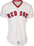 Baseball Collectibles:Uniforms, 1975 Carlton Fisk Postseason Game Worn & Signed Boston Red Sox Jersey, MEARS A8....