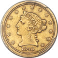 1843-C $2 1/2 Small Date, Crosslet 4 AU50 PCGS Secure. Variety 1....(PCGS# 7729)