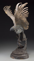 Bronze:European, A Patinated Bronze Figure of an Eagle after Jules Moigniez. Marks:J. Moigniez. 22-1/4 inches high (56.5 cm). ...