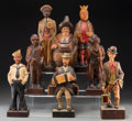 Decorative Arts, Continental:Other , A Group of Eight Continental Carved Wood Whistling and MusicalFigures, early 20th century and later. 16-5/8 inches high (42...(Total: 8 Items)