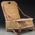 Decorative Arts, Continental:Other , A Portable Caned Folding Wicker Seat. 24-1/8 h x 18 w x 18-1/2 dinches (61.3 x 45.7 x 47.0 cm) (opened). Property from th...