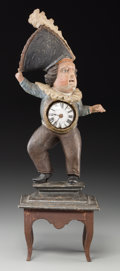 Decorative Arts, Continental:Other , A Carved Wood Figural Town Crier Clock. 18-1/4 inches high(46.4 cm). Clock mechanism engraved to the interior: ...
