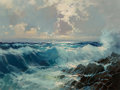 Fine Art - Painting, European, Razi (20th Century). Seascape. Oil on canvas. 24 x 32 inches(61.0 x 81.3 cm). Signed lower right: Razi. ...