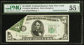 Error Notes:Foldovers, Fr. 1962-B $5 1950A Federal Reserve Note. PMG About Uncirculated 55EPQ.. ...
