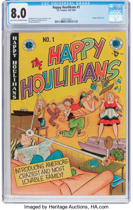 The Happy Houlihans #1 (EC, 1947) CGC VF 8.0 Light tan to off-white pages....