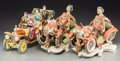 Ceramics & Porcelain, Continental:Other , Two Capodimonte Porcelain Figural Car Groups with Associated Group,20th century. Marks: (various). 9-3/8 h x 11-3/4 w x 7-3... (Total:3 Items)
