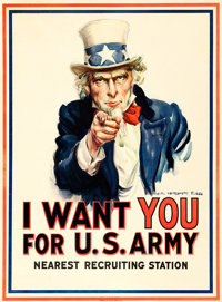 "World War I Propaganda by James Montgomery Flagg (Leslie-Judge Co., 1917). Poster (30"" X 40.5"") ""I Want Y..."