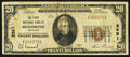National Bank Notes:Wisconsin, Menomonie, WI - $20 1929 Ty. 1 The First NB Ch. # 2851. ...
