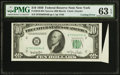 Error Notes:Attached Tabs, Fr. 2010-B $10 1950 Narrow Federal Reserve Note. PMG ChoiceUncirculated 63 EPQ.. ...