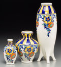 Ceramics & Porcelain, Continental:Other , Three Charles Catteau for Boch Freres Oeillet Enameled Vases, LaLouvière, Belgium. Marks: (various). 15-3/8 inches high (39...(Total: 3 Items)