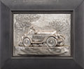 Decorative Arts, Continental:Other , Five Silver-Plated, Copper, and Metal Plaques with AutomobileRacing Motifs. Marks: (various). 10 inches high x 16-1/2 inche...(Total: 5 Items)