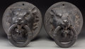 Decorative Arts, Continental:Other , A Pair of Large Bronze Boar Handled Ship Mounts after the Antique,late 19th-early 20th century. 14 h x 12 w x 10-3/4 d inch...(Total: 2 Items)
