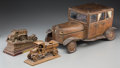 Decorative Arts, Continental:Other , A Scratch-Built Leather Coupe Valet with Two Metal Car Models,circa 1940 and later. 8-1/4 h x 17 w x 10 d inches (21.0 x 43...(Total: 3 Items)