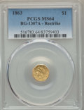 California Fractional Gold , 1863 $1 Liberty Octagonal Dollar, Restrike, BG-1307A, R.1, MS64PCGS. PCGS Population: (10/5). ...