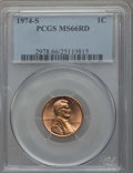 Lincoln Cents, 1974-S 1C MS66 Red PCGS. PCGS Population: (174/29). NGC Census: (96/1). ...