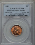 Lincoln Cents, 1941 1C MS67 Red PCGS. Ex: Omaha Bank Hoard. PCGS Population: (286/1). NGC Census: (842/0). CDN: $90 Whsle. Bid for problem...